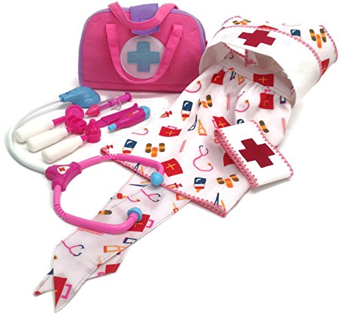 Kids Dress Up Nurses Medical Kit & Outfit (11): hat, apron, arm band, 8 pc kit (pink/blue)