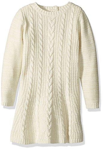 s' Long Sleeve Sparkle Sweater Dress, Cream Heather, 5T (Cream Heather)