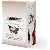 Built Bar 18 Pack Energy and Protein Bars - 100% Real Chocolate - High in Whey Protein and Fiber - Gluten Free, Natural Flavoring, No Preservatives (Coconut Almond)
