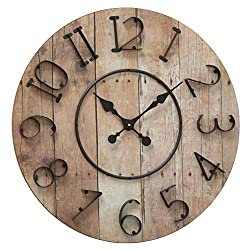 WHW Whole House Worlds Iconic Farmers Wall Clock, Raised Iron Numerals, Quartz Movement, MDF Wood, Reclaimed Repurposed Vintage Style, Over 2 Ft Diameter (27 1/2 Inches) Battery Powered