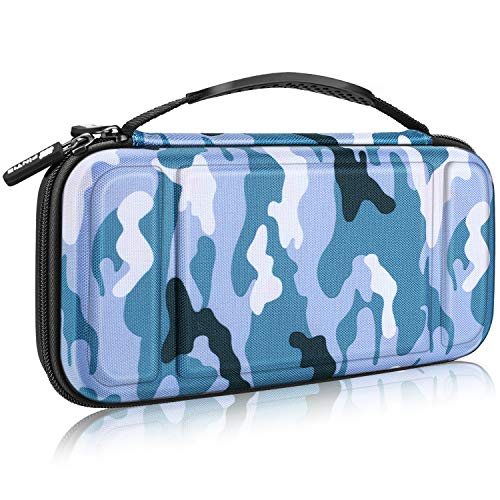 Fintie Carry Case for Nintendo Switch - [Shockproof] Hard Shell Protective Cover Portable Travel Bag w/10 Game Card Slots and Inner Pocket for Nintendo Switch Console Joy-Con & Accessories, Camo Blue