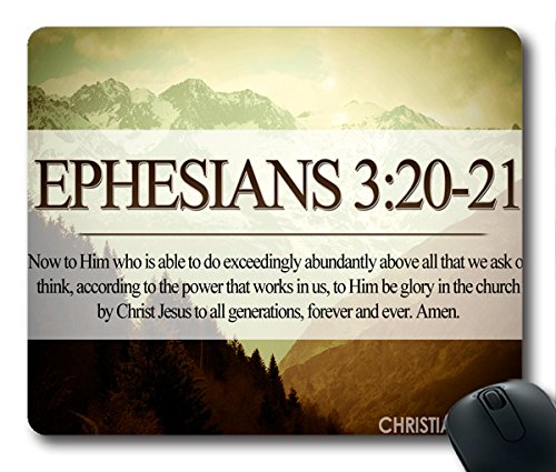 Inspirational Bible Verse Quotes Ephesians 3:20-21 Oblong Mouse Pad in 240mm*200mm*3mm VQ0711022