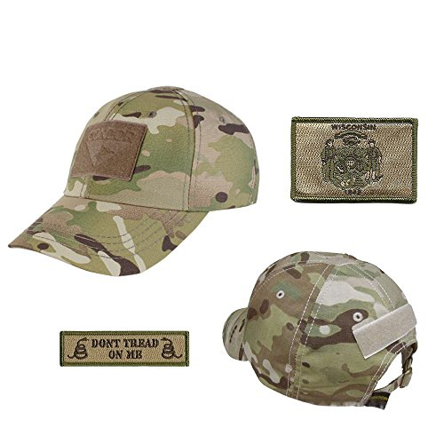 US State Operator Cap Bundle - With State & Dont Tread On Me Patches - Wisconsin