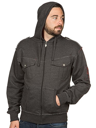 JINX World of Warcraft Men's Champion of The Horde Premium Zip-up Hoodie (Charcoal, Medium)