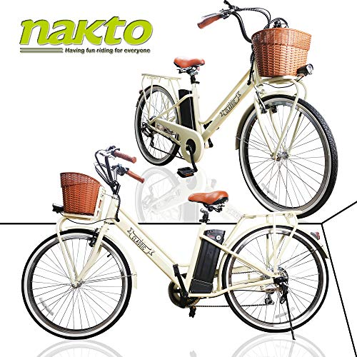 NAKTO Electric Bicycles for Adult Comes a Detachable 36V 10Ah Lithium Battery & Battery Charger(Class)