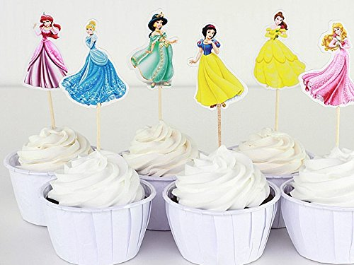 TOPStuffsz -Set of 24pc Cute Disney Princesses, Dessert Muffin Cupcake Toppers for Picnic Wedding Baby Shower Birthday Party (Muffin Wedding Cake)