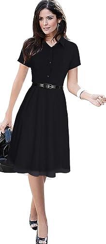 Babyonline Short Sleeve Chiffon OL Wear to Work Shirt Mini Dress (no Belted)