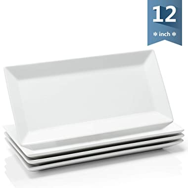 Sweese 3304 12-inch Porcelain Rectangular Plates/Serving Trays for Parties - White & Stackable, Set of 4