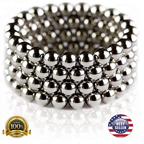 SHS Original Magnetic Buildable Ball Spheres Set (8mm) Lot 25/50/100 Upgraded Size 5/16 -Office Toy & Stress Relief for Adults (Shiny Silver) (25)