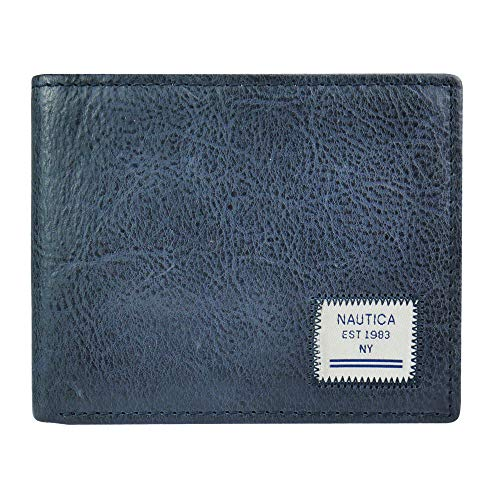 Nautica Men's Leather Wallet RFID Blocking Slim Thin Bifold, Navy Mararola, One Size