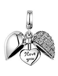 Lovans 925 Silver Heart I Love You Charm Bead Fit European Bracelets
