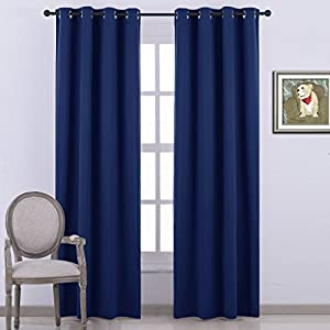 Amazon.com: Nicetown Blackout Curtains - (Navy Blue Color)-52 inch wide by 95 inch long,Blackout ...