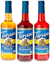 Torani Sugar Free Fruit Flavor Syrup Variety Pack - Raspberry, Strawberry, Peach, 3-count, 1.83-pound Bottles