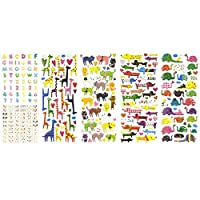 ALLYDREW 3D Puffy Adhesive Stickers Puffy Stickers for Crafts & Scrapbooking (5 Sheets) - Letters, Numbers, Elephants, Cats, Giraffes, Dogs