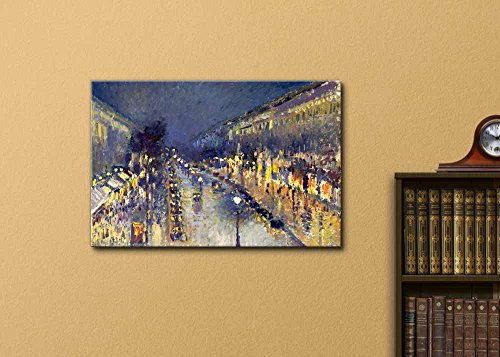 The Boulevard Montmartre at Night by Camille Pissarro Print Famous Oil Painting Reproduction