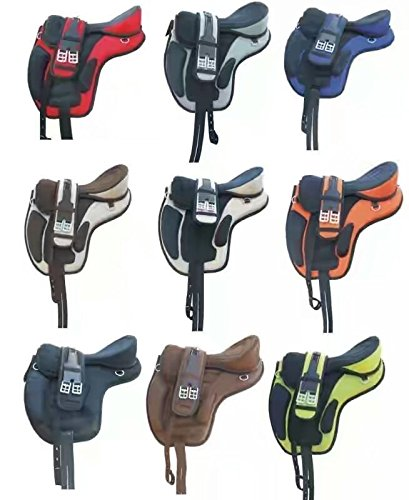 Manaal Enterprises Manaal Enterprises Synthetic Treeless Freemax Western Orange 17 Inch Horse Saddle + Get 1 Matching Girth with Leather Stirrup price tips cheap