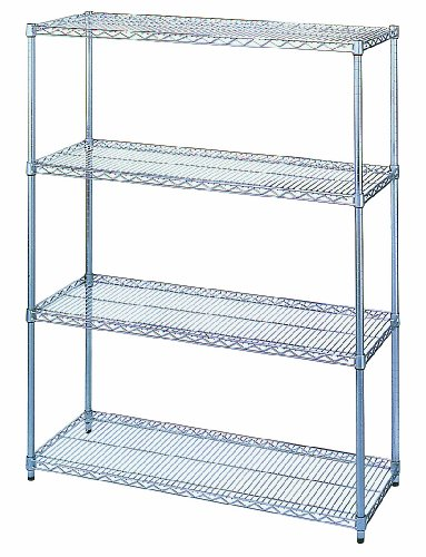 Wesco Industrial Products 272704 Chrome Plated Wire Shelving Starter Unit, 2400 Pound Capacity, 48