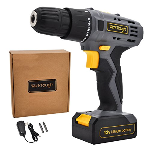 Cordless Drill Driver Powerful Screwdriver 12V Lion Battery with Charger Uniteco D018