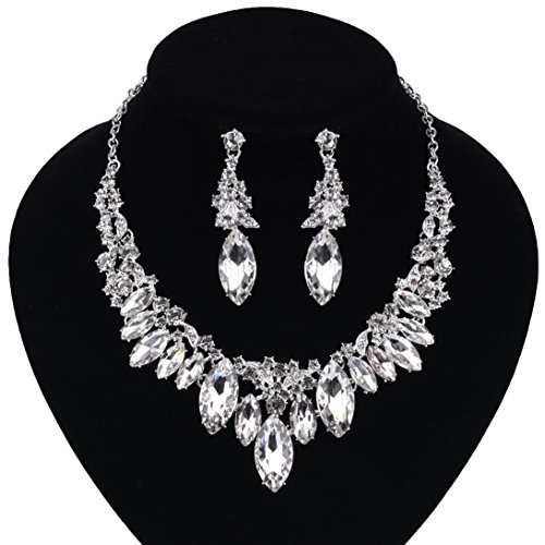 Paxuan Silver Gold Wedding Bridal Bridesmaid Austrian Crystal Rhinestone Jewelry Sets Statement Choker Necklace Earrings Sets for Wedding Party Prom (White ()