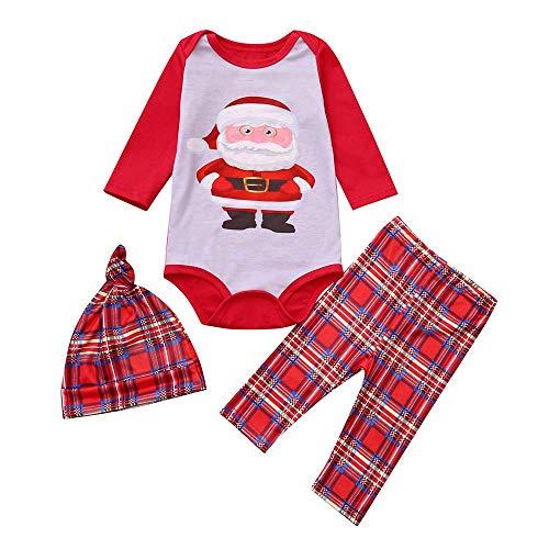 Family Matching Plaid Holiday Santa Claus Print Pajama PJ Sets Men Women Boy Girl Kids Christmas Family Nightwear Pajamas Set (Baby Red, 0-3Months)