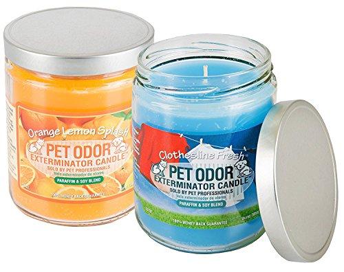 Pet Odor Specialty Pet Products Exterminator, 13 Ounce Orange Lemon Splash Jar Candle and 13 Ounce Clothesline Fresh Jar Candle