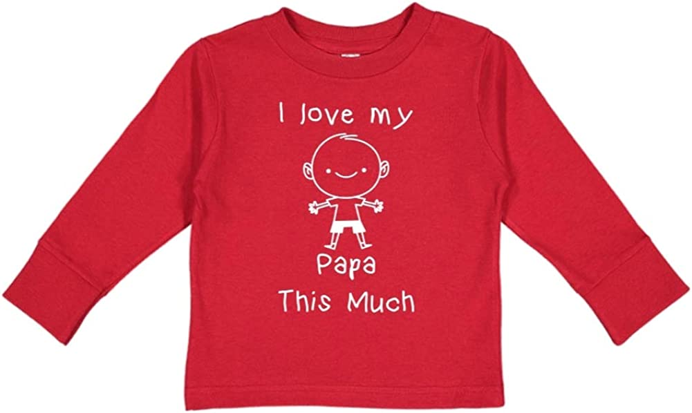 Personalized Name Toddler//Kids Long Sleeve T-Shirt Little Boy I Love My Papa This Much