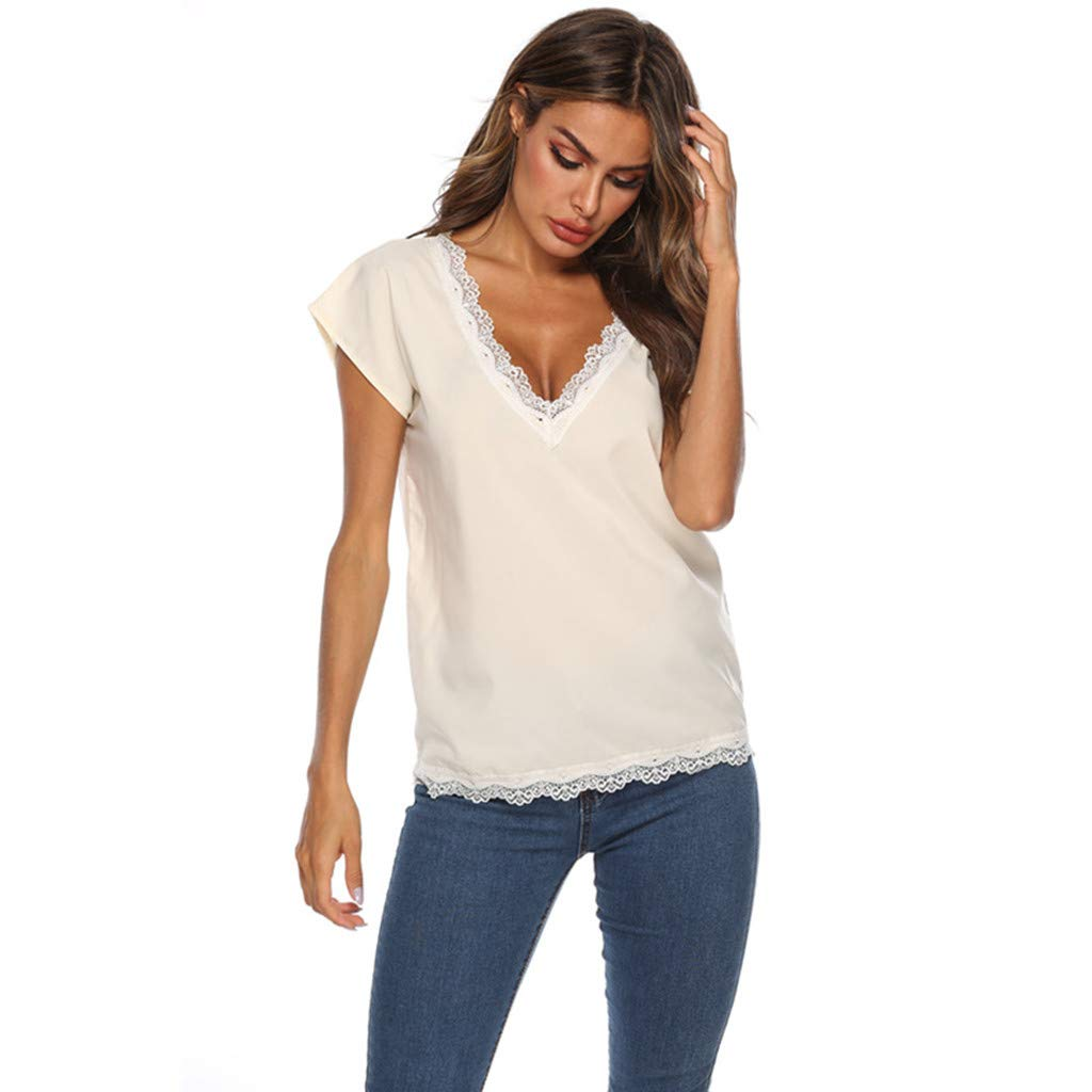 S-5XL Women's Casual Lace Patchwork Blouse V Neck Short Sleeve T Shirt Plus Size Tops Yellow
