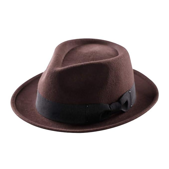29068ffbfc021d Men's Fedora Hat,100% Pure Wool Felt Hats Pork Pie Crushable Short Brim  Gangster