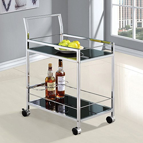 1PerfectChoice Modern Kitchen Serving Cart Wine Bottle Racks Black Glass Shelves Casters Wheels