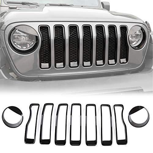 JeCar Grill Inserts Headlight Covers Trim Kit Exterior Accessories for 2018 2019 2020 Jeep Wrangler JL JLU & & 2020 Jeep Gladiators JT, Upgrade Version, Black