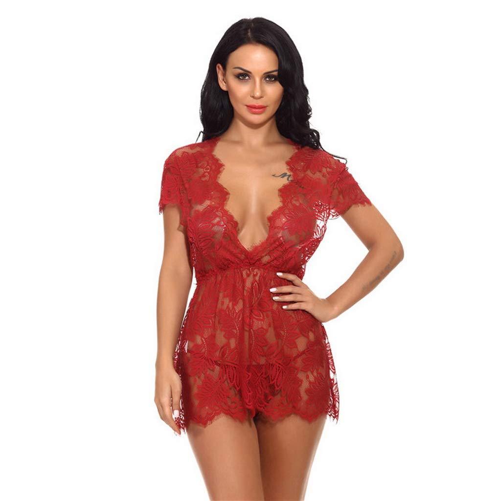 T T Store Ladies Lace Nightgown Nighty Sleeping Dress Vintage V-Neck Sleepwear Night Gown NuisetteSexy Underwear (red-797XL)