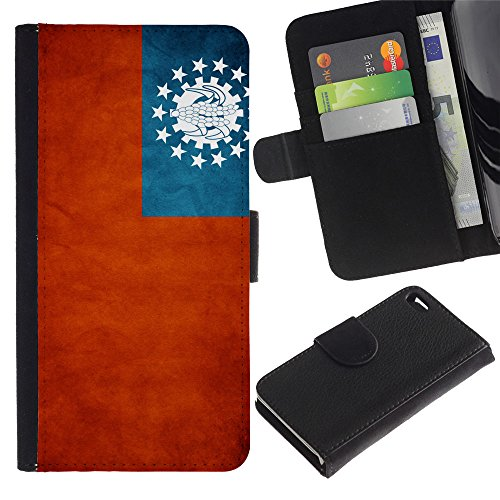 OMEGA Case / Apple Iphone 4 / 4S / Myanmar Grunge Flag / Cuir PU Portefeuille Coverture Shell Armure Coque Coq Cas Etui Housse Case Cover Wallet Credit Card
