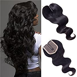 Forevery Hair Lace Closure 3.5×4 Body Wave Brazilian Virgin Human Hair Extensions Middle Part Lace Closure(10″, body wave)