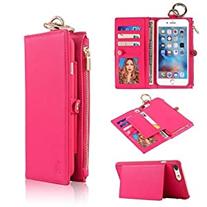 iPhone 5 5S / SE Advanced PU Leather Detachable Wallet Case - TYoung Classic Multifunctional Retro Folio Flip Case with Credit Card Slots and Zipper Cash Compartments