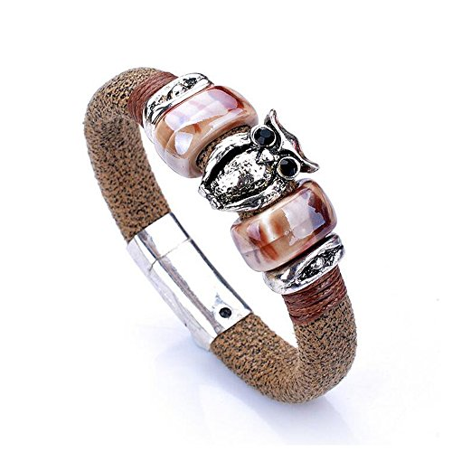 Fariishta Jewelry Handmade Vintage owl Leather Wrap - Charleston Shopping North