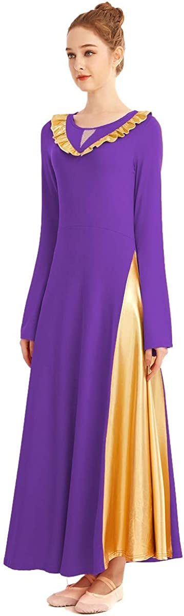 FMYFWY Women Praise Dance Dress Bell Sleeve V-Shaped Ruffle Bi Color Circle Skirt Lyrical Liturgical Worship Costume