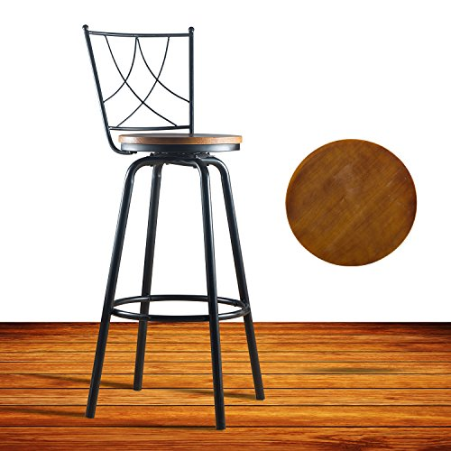 URANMOLE Round Wood Seat Bar/Counter Height Adjustable Swivel Metal Bar Stool/Chair with Backrest for Bistro Pub Breakfast Kitchen, Black (Breakfast Chairs)