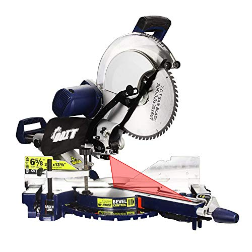 Dual Bevel Miter Saw, Dobetter 12-Inch 3800rpm Sliding Compound Miter Saw With Front Bevel Lock, Laser and LED Light, Extensible Table, Clamping Device and 60T Blade