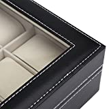 Readaeer Glass Top 10 Watch Black Leather Box