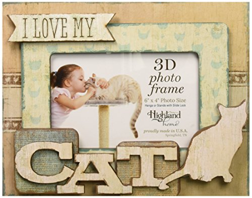 Highland Woodcrafters I Love My Cat 6''x4'' Wooden 3D Photo Frame by Highland Woodcrafters (Image #1)