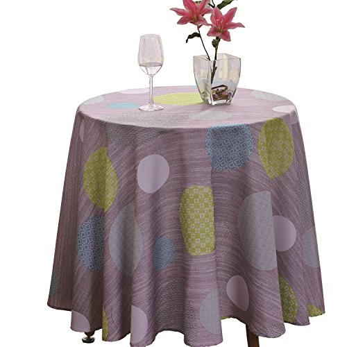 JIATER Elegant Printed Table Cloth Spillproof Polyester Fabric Round Tablecloth (Polka Dot Blue, 60