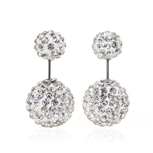 Sexy Sparkles Clay Earrings Double Sided Ear Studs Round Pave Pink Rhinestone W/Stoppers (White)