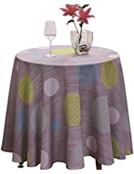 """JIATER Elegant Printed Table Cloth Spillproof Polyester Fabric Round Tablecloth (Polka Dot Blue, 60"""" Round)"""
