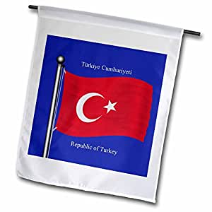 777images Flags and Maps - The flag of Turkey on a blue background with Republic of Turkey in English and Turkish. - 18 x 27 inch Garden Flag (fl_63213_2)