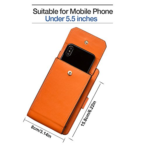 iPhone 7plus Wallet Case iPhone 6 Case Cell Phone Crossbody Shoulder Purse Bag Small Messenger Pouch Bags with Card Holder Slot for iPhone 8 8plus 7 7plus 6S 6 6plus (Orange) by SHINEFUTURE (Image #2)