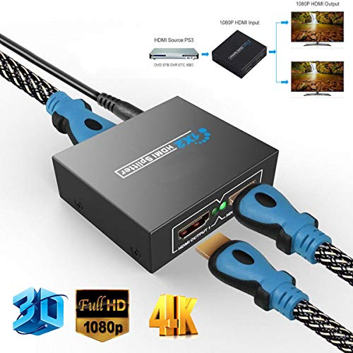PinShang Full HD HDMI Splitter 1X2 Repeater Amplifier 3D 1080p 4K Switch Box 1 in 2 Out