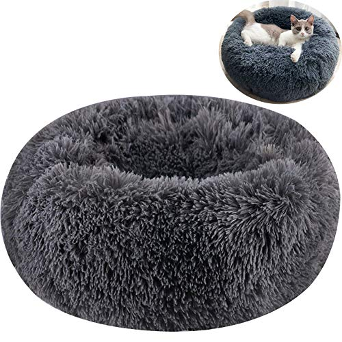 TINTON LIFE Luxury Faux Fur Pet Bed for Cats Small Dogs Round Donut Cuddler Oval Plush Cozy Self-Warming Cat Bed for Improved Sleep, Dark Grey -
