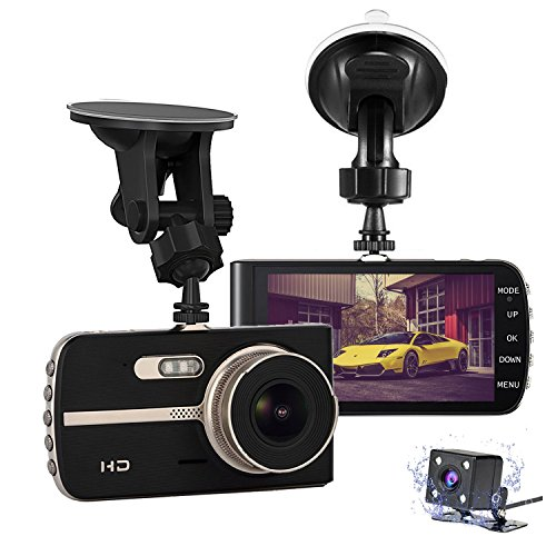 "Nesolo Full HD 1080P 1920x1080 Car Dash Cam 170° Wide Angle 4"" LCD Dashboard Camera DVR Video Recorder Dual Lens Front+Rear with HDR Night Vision,Loop Recording,Parking Mode,G-Sensor"