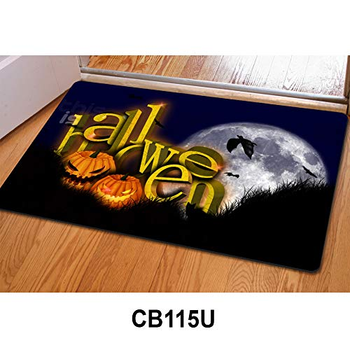 (HUGS IDEA Unique Design Door Mat Halloween Evening Pumpkin Lantern Home Decorative Carpet Kitchen Living)