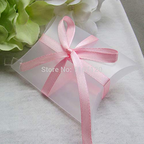 50Pcs Clear Frosted Pillow Shaped Plastic PVC Boxes with Pink Ribbon Wedding Party Favors